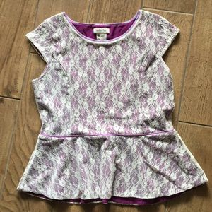 Matilda Jane Sz s purple and cream peplum Top